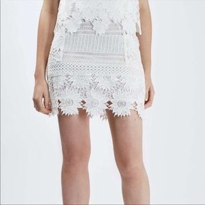 TopShop White Lace Skirt with sunflower details